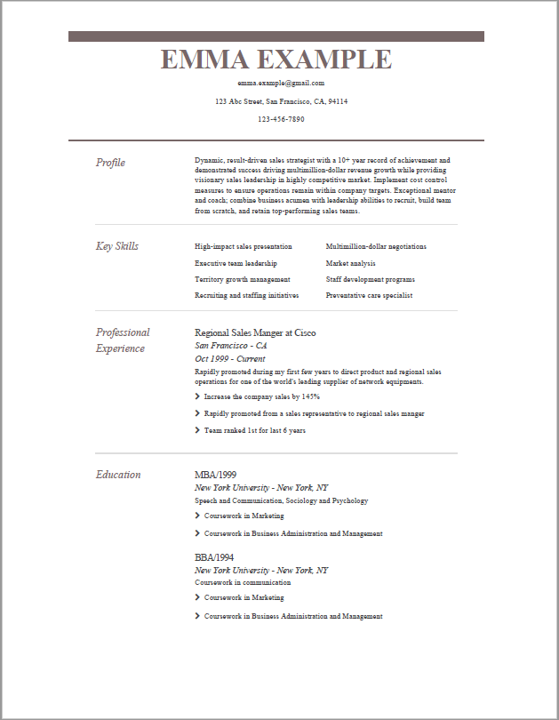 resume template for experience - sober template