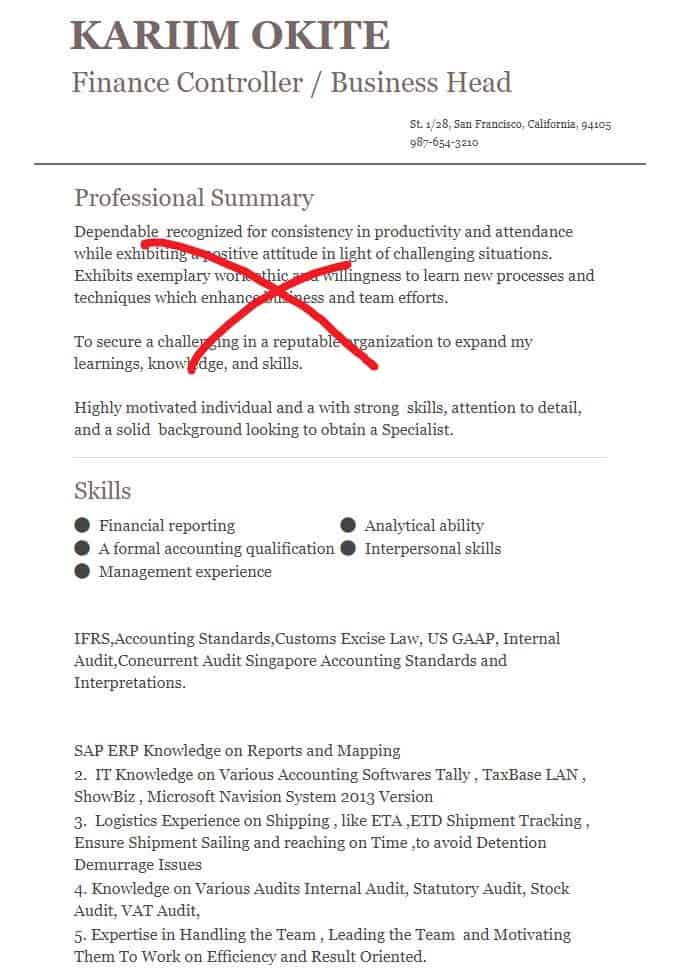 Wrong Academic Accounting and Finance Resume Example