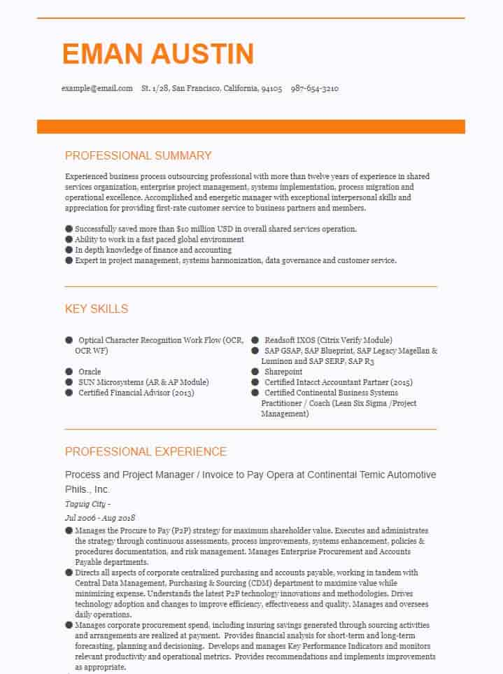 Accounting and Finance Resume Example Recommended